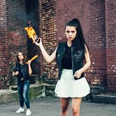 Two Bad Fan Girls With Molotov Cocktail Bomb In The Street