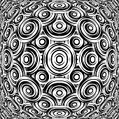 Design Warped Monochrome Circle Pattern