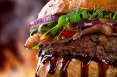 pic of hamburger-steak  - Delicious hamburger on dark background - JPG