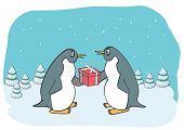 Funny penguin with gift