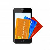 Vector credit card with phone
