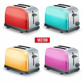 Set of Bright toasters. Vector isolated on white background.