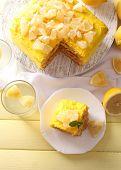 Tasty lemon dessert on wooden table