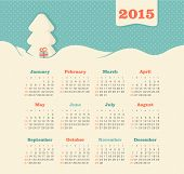 Calendar 2015 year with Christmas tree