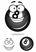 Smiling number 8 billiard ball