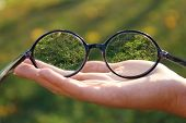 Vision concept. Glasses in hand on green background