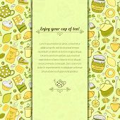 Vector tea and sweets illustration for template card