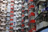 Old apartments in Hong Kong at day