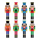 image of nutcracker  - Vector icons set of Xmas nutcrackers statues isolated on white - JPG
