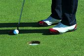 Close up of person putting golf ball on golf course