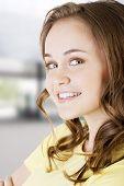 Teen smiling caucasian girl portrait