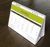 April Calendar 2015 on wood table