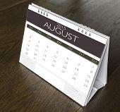 August Calendar  2015 on wood table