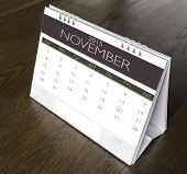November Calendar  2015 on wood table