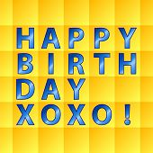 Birthday Card-yellow Squares