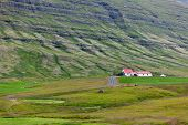 Icelandic Nature Landscape With Mountains And Dwellings
