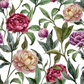 Beautiful vector watercolor pattern with peonies on white fon3
