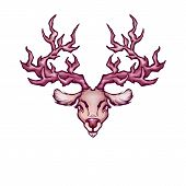 Illustration head of deer in cartoon style