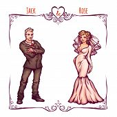 Illustration of elegant wedding invintantion with bride and groom