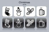 Christmas symbols icons. Set of editable vector monochrome illustrations.