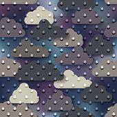 Cartoon rain on clouds background.