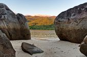 Close up Old Large Rocks at Famous Beach of Mahe Island, Seychelles. Captured on Sunrise Time.