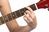 Image of woman's fingers on guitar