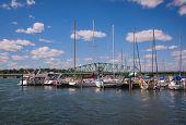 Detroit River South Boat Marina And Bridge