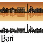 Bari Skyline In Orange Background