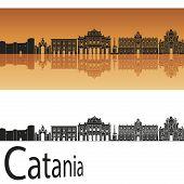 Catania Skyline In Orange Background