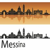 image of messina  - Messina skyline in orange background in editable vector file - JPG