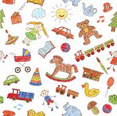 Colorful seamless pattern, childish doodles. Vector background.