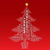 Conceptual Christmas or Merry Christmas fir tree made of text as wordcloud isolated on red background
