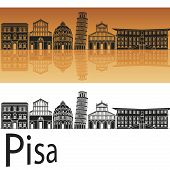Pisa Skyline In Orange Background