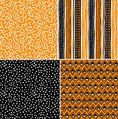 Four different vector seamless patterns on ethnic motifs
