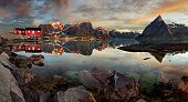 stock photo of reining  - Norway village Reine with a mountain panorama - JPG