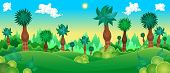 Green forest. Vector cartoon illustration.
