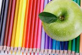 apple with color pencils