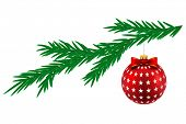 Christmas ball with stars and pine tree isolated on white background. Illustration.