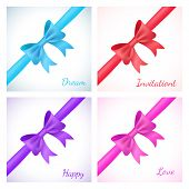 Set of shiny bow and ribbon on white background. Vector