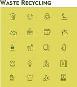 stock photo of reuse recycle  - Set of the garbage separation and recycling related icons - JPG