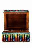 foto of casket  - a mexican colorful casket isolated over a white background - JPG