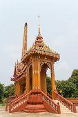 image of crematory  - Crematory with sky background at Wat Mai Pak Bang - JPG