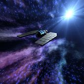 stock photo of starry  - Magnificient starry space 3d scene with a spaceship - JPG