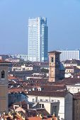stock photo of turin  - A view from above of Turin with its skyscraper - JPG