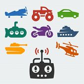 picture of monster-truck  - Remote control toys vector icons set on grey background - JPG