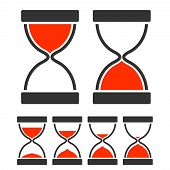 stock photo of sand timer  - Sand glass timer concept with hourglass flat icons set isolated vector illustration - JPG