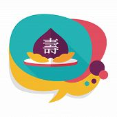 picture of peach  - Chinese New Year Peaches Of Immortality Flat Icon With Long Shadow - JPG
