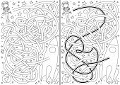 stock photo of maze  - Space maze for kids with a solution in black and white - JPG