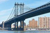 picture of brooklyn bridge  - Manhattan Bridge and skyline view from Brooklyn in New York City - JPG